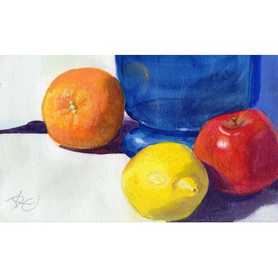Blue Vase with Fruit - Watercolor  by Debra Kay Carter