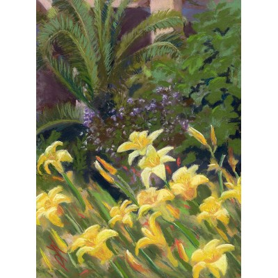 Day Lilies in Barcelona - Pastel  by Debra Kay Carter
