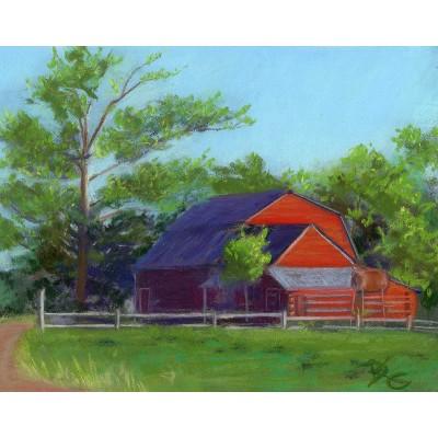 Red Barn - Pastel  by Debra Kay Carter