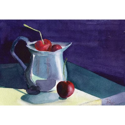Creamer with Cherries - Watercolor by Debra Kay Carter