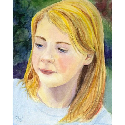 Kirsten, Lost in Thought - Watercolor  by Debra Kay Carter