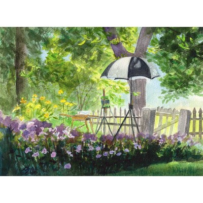 The Artist is Taking a Break - Watercolor  by Debra Kay Carter